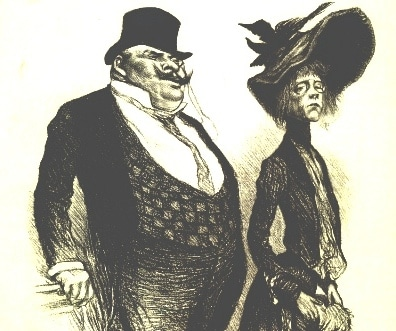 A Victorian caricature of a pair of snobs looking down on others and socially disapproving of them.