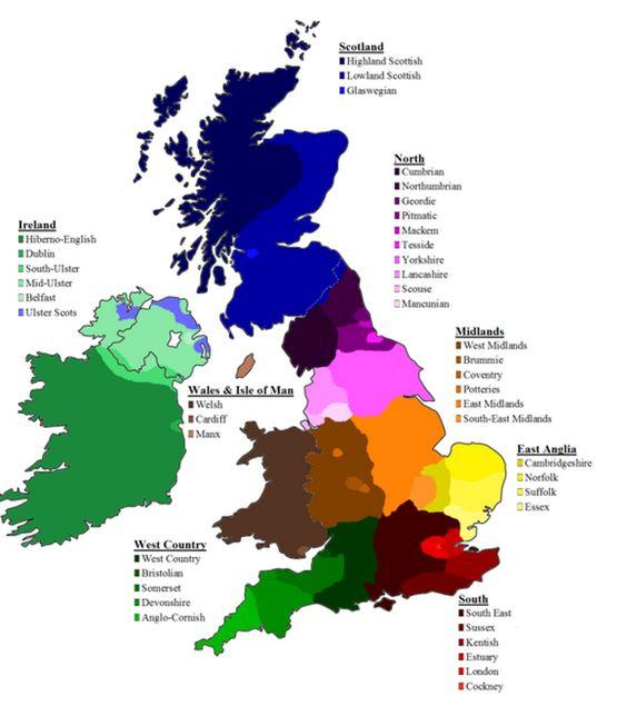 UK regional accents map